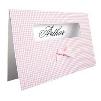 Karte Modell VICHY NOIRE inkl. Kuvert als Dankeskarten und Geburtsanzeigen auf Wunsch auch inkl. Druckservice